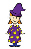 Cute girl wearing witch costume — Stock Vector