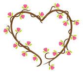 Quadro floral de forma de coração — Vetorial Stock
