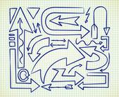 矢印の落書きの大きなセット — ストックベクタ
