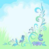 花と蝶と背景 — ストック写真