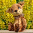 Stock Photo: Ron fox cub and flowers