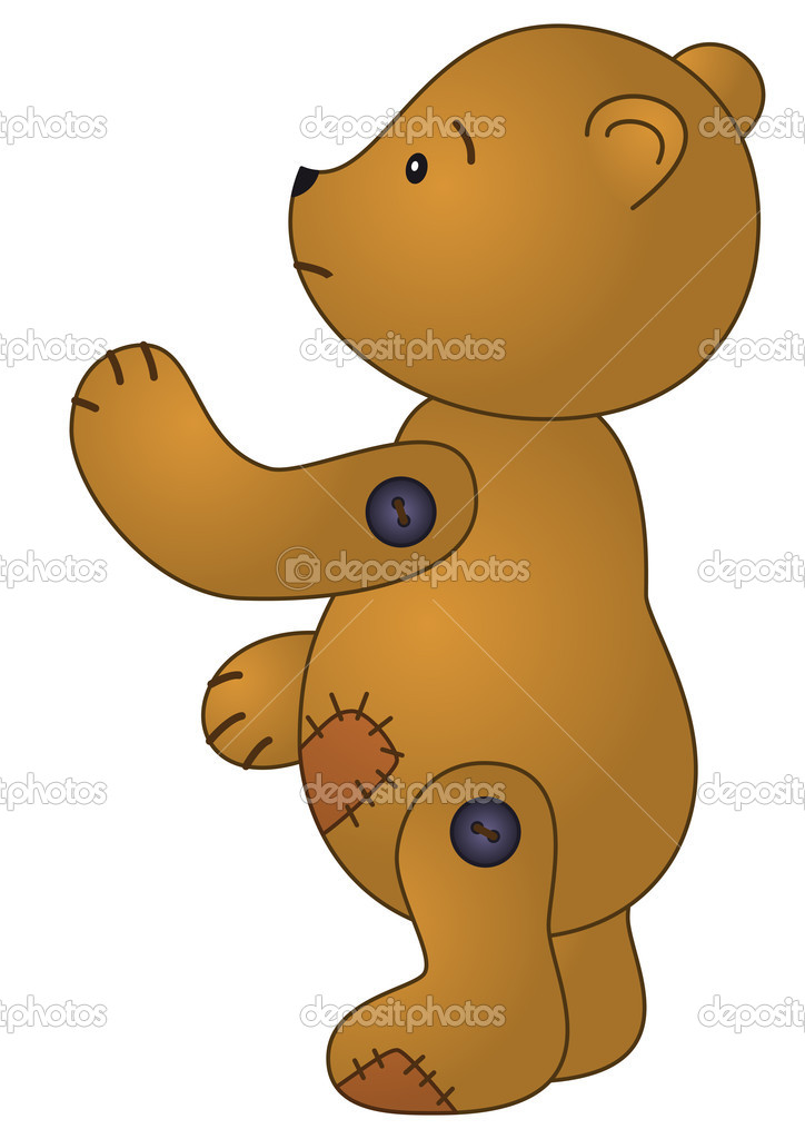 Toy, sad brown patched teddy bear — Stock Photo #11168670