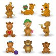Set toy teddy bears — Vector de stock
