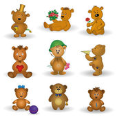Set toy teddy bears — Stock Vector