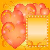 Bakgrund, valentine hjärtan och ram — Stockvektor