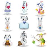 Set toy rabbits — Stock Vector