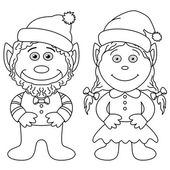 Gnomes, boy and girl, outline — Stock Photo