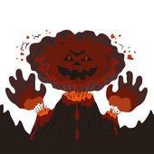 Evil erupting volcano — Stock Vector