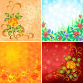 Set abstract floral backgrounds — Vettoriale Stock