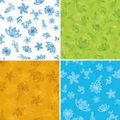 Set abstract seamless floral backgrounds — Stock Photo