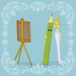 Pencil, brush and easel — Foto de Stock
