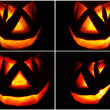 Jack O Lantern on the black, set — Stockfoto