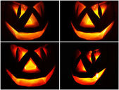 Jack O Lantern on the black, set — Stock Photo