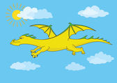 Golden fairy dragon flies in the blue sky — Stock Vector