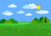 Landscape, summer day — Stock Vector