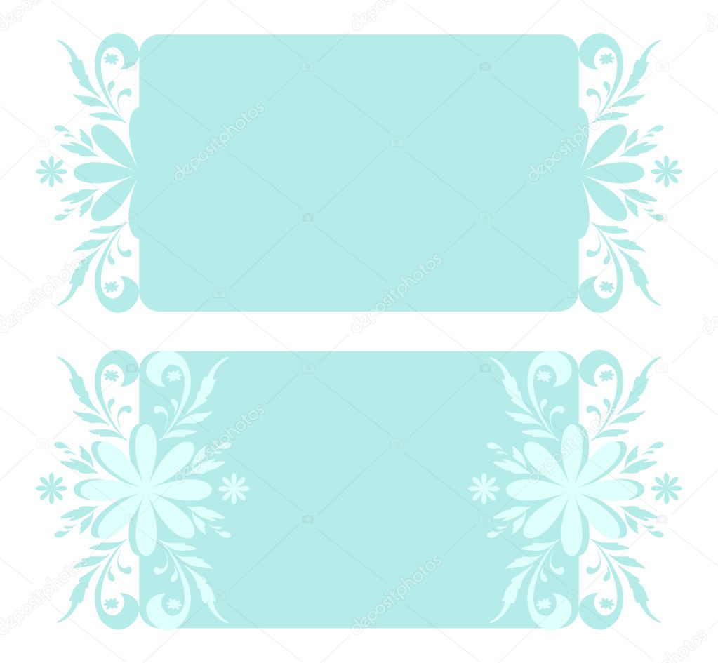 Abstract backgrounds, banners, plates with white and blue Christmas holiday floral pattern. Vector — Stock Vector #12180989