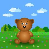 Urso de pelúcia em um campo de flores de verão — Vetorial Stock