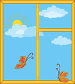 Window with sky, sun and butterflies — Stock Photo