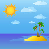 Sun and island with palm trees — Stock Photo