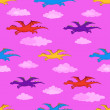 Seamless background, colorful dragons flies - Stock Photo