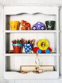White children's shelf — Stock Photo