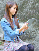 Young Woman With Tablet Computer — Stock Photo
