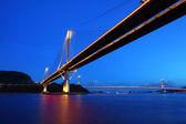 Ting Kau Bridge and Tsing ma Bridge at evening, in Hong Kong — Stock Photo