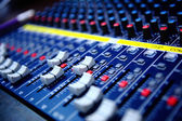 Controls of audio mixing console — Stock Photo