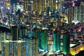 Downtown in Hong Kong view from high at night — Stock Photo