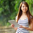Young woman using tablet touch computer — Stock Photo