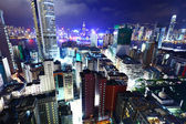 Hong Kong with many high rise building at night — Stock Photo