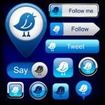 Bird high-detailed modern buttons. — Stock Vector #10977470