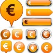 Royalty-Free Stock Vector Image: Euro high-detailed web button collection.