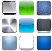 Fyrkantig modern app mall ikoner. — Stockvektor