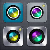 Square modern camera app icons. — Stock Vector