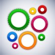 Stock Vector: Colorful background with gear circles.