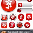 Royalty-Free Stock Vector Image: Flower high-detailed modern buttons.