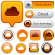 Cloud computing high-detailed modern buttons. — Stock Vector