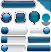 Dark-blue high-detailed modern buttons. — Stock Vector