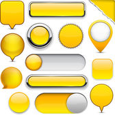Yellow high-detailed modern buttons. — Stock Vector