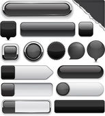 Black high-detailed modern buttons. — Vector de stock