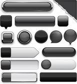 Schwarz hoch-detaillierte moderne schaltflächen. — Stockvektor