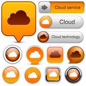 Cloud computing high-detailed modern buttons. — Stock Vector