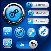 Controls high-detailed web button collection. — Stock Vector