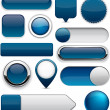 Dark-blue high-detailed modern buttons. — Stock Vector #11809545