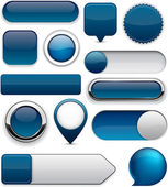 Dark-blue high-detailed modern buttons. — Stock Vector