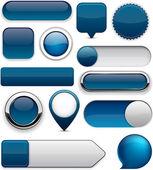 Tmavě modrá vysoce detailní moderní tlačítka. — Stock vektor