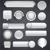 Grey high-detailed modern buttons. — Vecteur