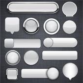 Grijze hoge-gedetailleerde moderne knoppen. — Stockvector