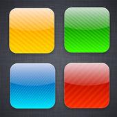 Vierkante gestreepte app sjabloon pictogrammen. — Stockvector